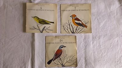 """3 x 7"""" Bird Song Field Recording Guide Sonore des Oiseaux d'Europe Illustrated"""