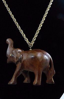 Vintage Hand Carved Wood Wooden Elephant Pendant Necklace India Gold Tone Chain