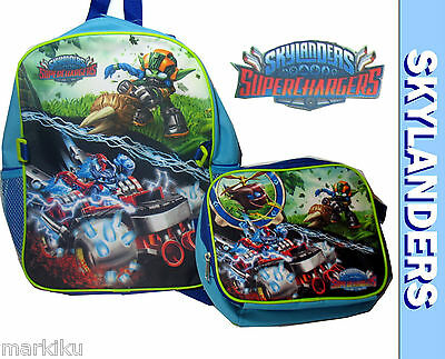 New Skylanders Superchargers Backpack Rucksack Black w lunch bag stealth elf