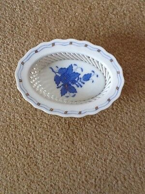 Herend Porcelain Blue Peony Reticulated Basket