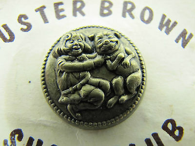 Old BUSTER BROWN SHOE CLUB Advertising Pin on Card metal ornate design child dog