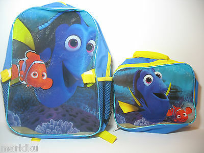 New Disney Pixar Finding Dory blue fish  Backpack Rucksack Blue with lunch bag