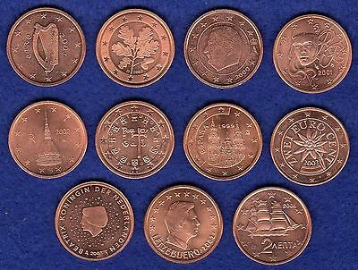 Euro 2 Cent Coins, 11 Different Countries, High Grade (Ref. t0418)