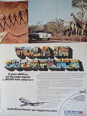 P.70.23 Pubblicita' Advertising SAA South African Airways 1970 Clipping Riv.Tur.