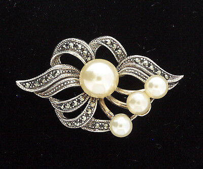 End Of Line - Sterling Silver, Marcasite And Imitation Pearl Brooch