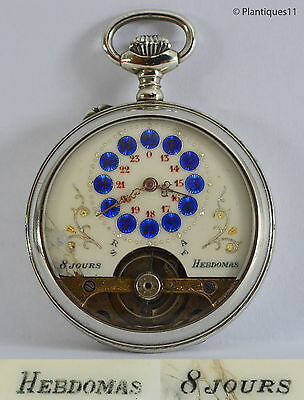 49mm Vintage HEBDOMAS 8 Jours POCKET WATCH Days 24h dial Exposed Balance RUNNING