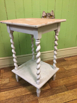 Vintage wooden lamp telephone table plant stand barley twist Shabby Chic Project