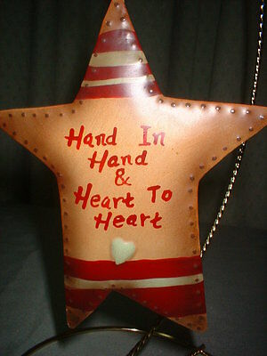 Punched Tin Star Christmas Tree Ornament Hand in Hand & Heart to Heart