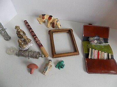 Vintage Junk Drawer Lot Toronto Sewing Kit Salt Pepper Brass Bell Flute Ornament