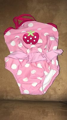 Girls Pink Polka Dot Swimsuit, Up To 12 Months