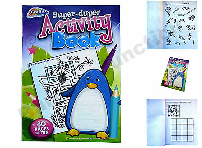 A4 Childrens Super-Duper Educational Activity Book 80 Pages Fun Holiday