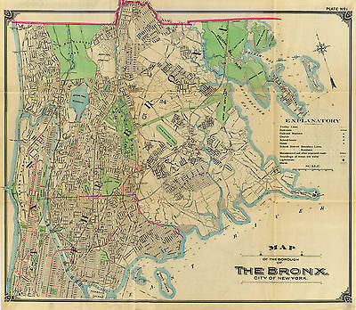 1900 Bronx New York City Wall Map Beautiful Vintage Art Poster Print Decor