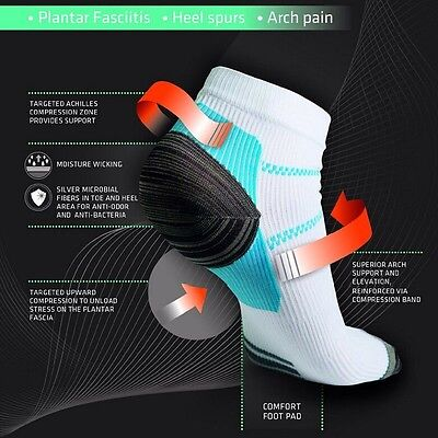 New Low Cut Sporty Plantar Fasciitis Relief Anti Fatigue Ankle Compression Socks