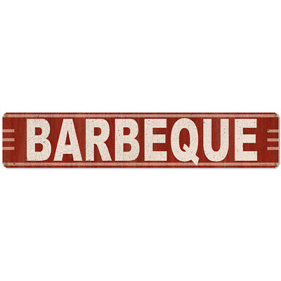 Barbecue Metal Sign Large Distressed Vintage BBQ Restaurant Decor 28 x 6