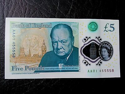 AA01 45555 8 Polymer Five Pound £5 Note