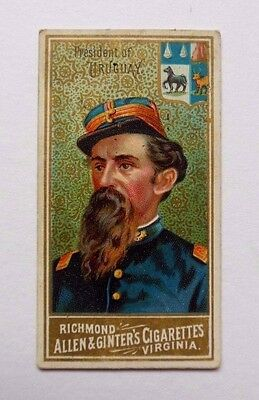 Cigarette card. Allen and Ginter,World Sovereigns,President of Paraguay