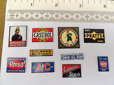 METAL RAILWAY ADVERT LINESIDE SIGNS - 7mm or 4mm SCALE - TEN SIGNS - LOT 3 - NEW