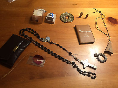 Lot Of Religious Items Collection Chaplet Dag Figurine D'youville France Ebony
