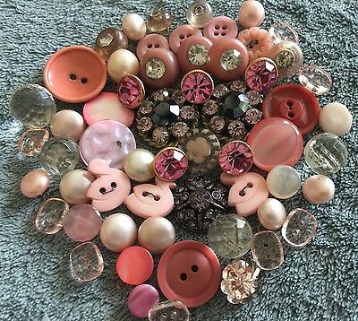 (58) Vintage Pink & Clear Buttons Pearl, Glass, Rhinestone, Plastic, Metal Etc