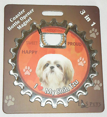Shih Tzu Coaster Bottle Opener Magnet 3 in 1 Dogs Unique Tan White Puppy Pets