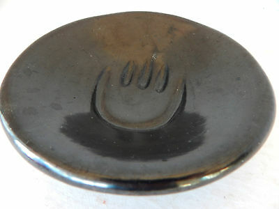 Small Santa Clara Indian Pottery Polished Black Plate With Bear Paw Center.