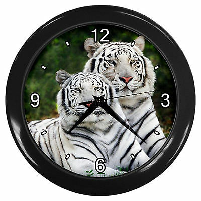 Two White Tigers PRINT Home Decor Kitchen / Lounge Room Wall Clock
