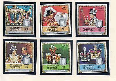 Stamps 1978 Coronation Anniversary Guinea Bissau  Set Of 6 Imperforate
