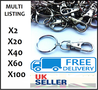 Silver Tone Lobster Trigger Swivel Clasps With Split Ring Keyring Hook Fob