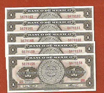 5 1967 Consecutive Serial Number One Peso Mexico Bank Notes Gem Crisp Bank Notes