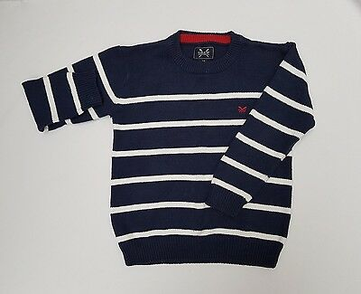 Boy's Crew Clothing Age 7-8 Navy & White Striped Jumper or Sweater