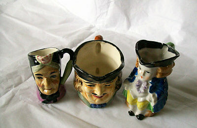 Toby jugs Set of three assorted Toby small jugs collectables Staffordshire