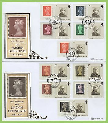 G.B. 2007 Machin Definitive Generic Smilers on four Benham First Day Covers