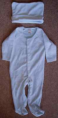 Baby Boys Pale Blue Sleepsuit/Babygrow And Matching Hat 9-12 Months From TU
