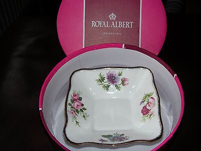 """Royal Albert Bone China """"flower Of The Month Series"""" Square Trinket Dish-Boxed"""