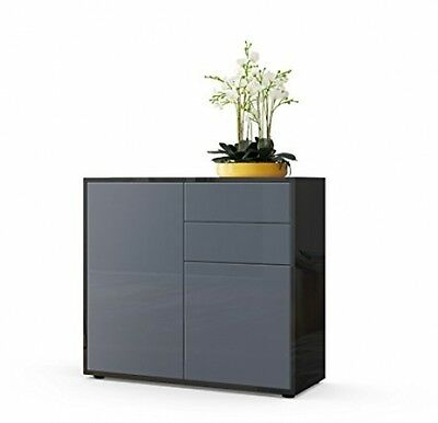Modern New Chest Of Drawers Living Room Bedroom Front Grey High Gloss