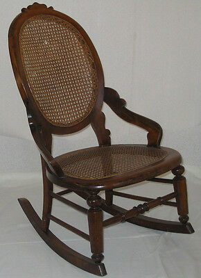 """Genuine Antique Victorian Ladies Rocking Chair  """"bergere"""" Caned Seat & Back"""