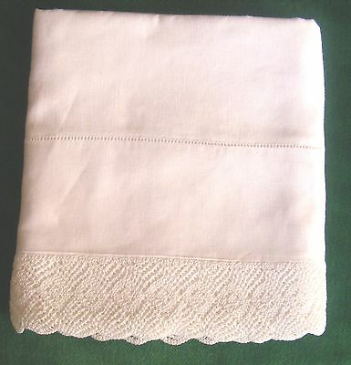 "Vintage PURE LINEN Single Pillowcase 2"" KNITTED LACE Edge Hemstitched"