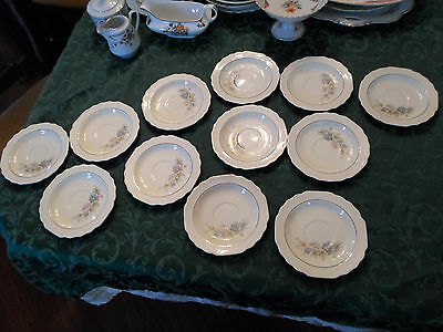 W.S. George Lido Saucers Porcelain China - set of 12 Cream Floral Pattern