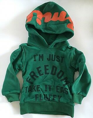 Tokyo Designer Olive.K Boys Green Hoodie Sweat,slogan Freedom Lucky,3 Years,NEW!