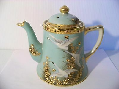 Nippon Flying Geese Jeweled Teapot Vintage