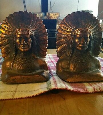 """ANTIQUE / OLD SOLID CAST IRON (BROZE COLOR) BOOKENDS - INDIAN HEADS 6"""" height"""