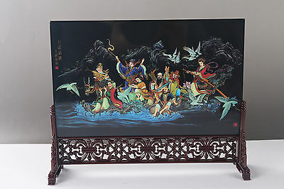 Rare Collectibles Decorated Painting the Eight Immortals Screen  H733