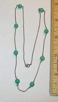 Antique Art Deco Sterling Silver Peking Glass Green Bead Necklace 18""