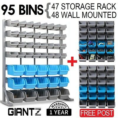 Storage 95 Pce Bin Wall Mounted Tool Shelving Rack Stand Parts Garage Organiser
