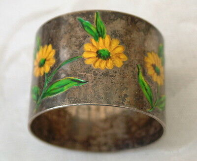 Lovely Very Unusual Silver And Enamel Sunflowers Hallmarked Napkin Ring