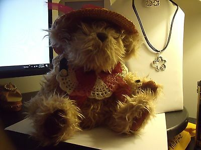 "Collectible Bears ""Rosie"" Pickerford Bear with Glasses & Straw Hat"