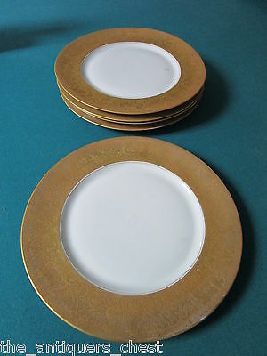 """Heinrich and Co Bavaria Germany 5 dinner plates gold encrusted rim, 10 3/4"""" [a*9"""