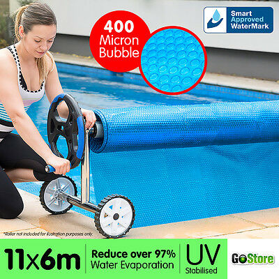 11 x 6m UV STABILISED SOLAR SWIMMING POOL COVER BUBBLE BLANKET HEATER Approved