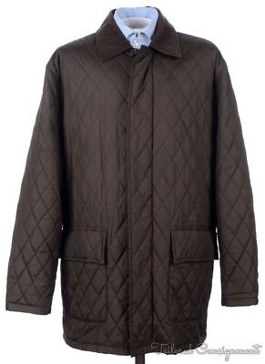 BROOKS BROTHERS Outerwear Brown Quilted Zip Button Mens Jacket Coat - LARGE