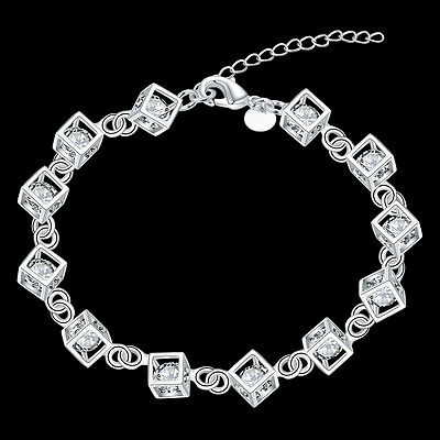 1Pc Women's Fashion 925 Silver Plated Charm Cube Box Crystal Chain Bracelet US